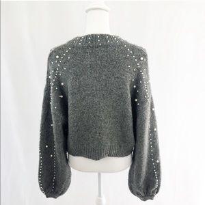 Zara Sweaters - Iconic Zara Gray Cropped Faux Pearl Sweater M